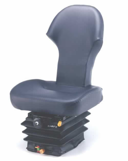 The KAB 11-F1 is an underground mining seat that has been specifically designed to accommodate the operator's safety belt. The F1 backrest is superior to the T-shaped backrest as the F1 allows for easier movement in and out of the seat. The KAB 11-F1 incorporates a compact Mechanical suspension rated for operators of 50kg to 120kg.